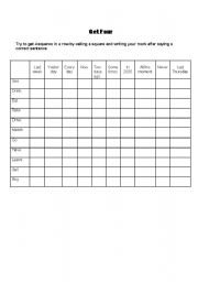 English Worksheets: Game: Get Four in a row (Present simple, present continuous, simple past)