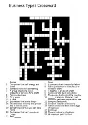 English Worksheets: Business Types Crossword