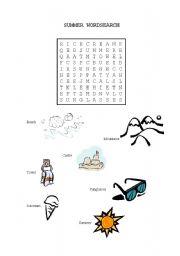 English worksheet: Summer Wordsearch