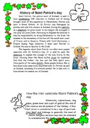 English Worksheets: St. Patrick. History and tradition