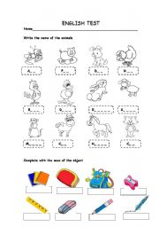 English Worksheet: English Test. Animals and School vocabulary