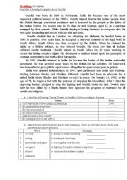 English Worksheet: reading quiz  Gandhi Ghandi
