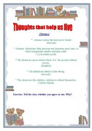 English Worksheets: Thoughts of famouse people part 1 ( actions and absence)
