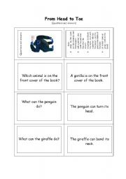 English Worksheets: From Head to Toe - questions and answers