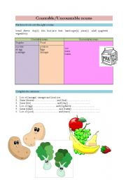 English Worksheets: Countable/Uncountable/How much/How many