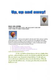 English Worksheets: Up, up and away!