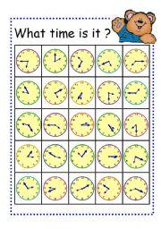 English Worksheet: Board Game- Telling Time Bingo Card Part2