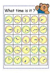 English Worksheet: Board Game- Telling Time Bingo Card Part3