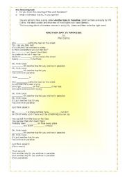 English Worksheets: Another Day in Paradise (3 pages)