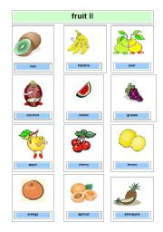 English Worksheet: Flashcards fruits