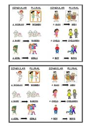English Worksheets: plural- singular nouns