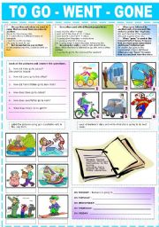 English Worksheets: TO GO-WENT-GONE