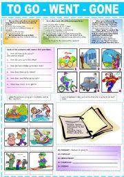 English Worksheet: TO GO-WENT-GONE