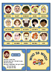 English Worksheet: WHO IS WHO? GAME  (PART ONE)