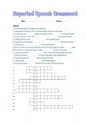 Reported Speech Crossword