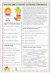 English Worksheet: Present simple vs Present continuous