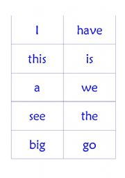 English worksheet: Sight Word flash cards