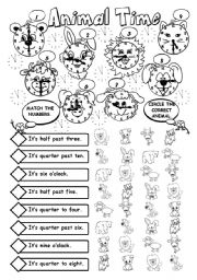 English Worksheets: Animal Time