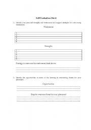 English Worksheet: Self Evaluation