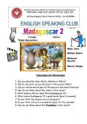 English Worksheet: Madagascar movie 2