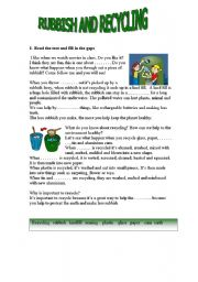 English Worksheet: rubbish and recycling