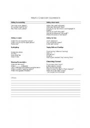 English Worksheets: Helpful Classroom Expressions