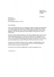 application for a job letter sample