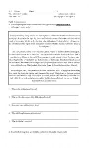 English Worksheets: English test - reading comprehension and usage