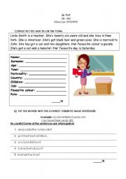 ESL worksheets for beginners: TEST- 5th class - 4 pages