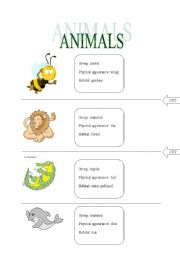 English Worksheets: ANIMALS role cards