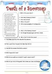 English Worksheet: Poetry - Death of a Snowman