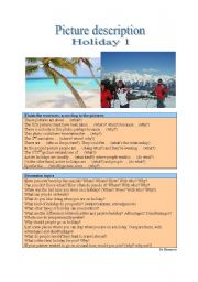 English Worksheet: Picture Description - Holiday 1