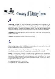 English Worksheets: Glossary of Literary Terms