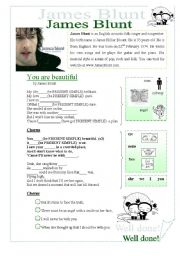 English Worksheets:  TO BE   You are Beautiful Jame Blunt Song
