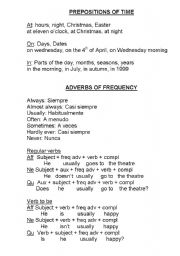 English Worksheets: Prepositions of Time and Frequency Adverbs