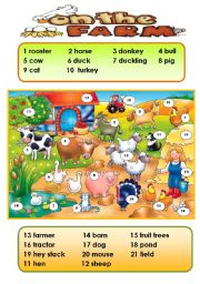 English worksheet: ON THE FARM - CLASSROOM POSTER (PICTIONARY) for young learners