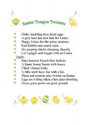 English Worksheet: EASTER TONGUE TWISTERS