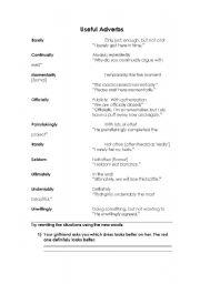 English worksheet: Some useful adverbs