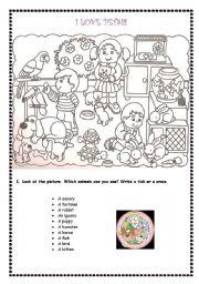 English Worksheet: I LOVE PETS!!