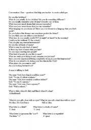 Conversation class - questions that help you teacher to create a