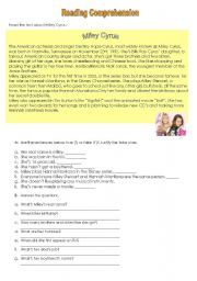English Worksheet: Miley Cyrus - Reading Comprehension