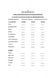 English Worksheets: TV and Movie Poll