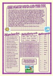 English Worksheets: The North Wind and The Sun