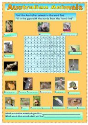 English Worksheet: Australian animals wordfind and gap filling