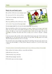 English Worksheets: body size