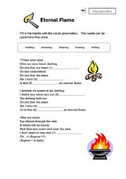 English Worksheet: Song Appreciation (Eternal Flame)