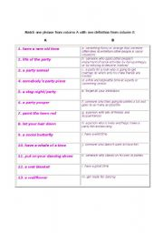 English teaching worksheets: Parties