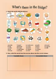 English Worksheet: What is in the fridge? (2 pages)