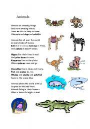 English Worksheet: Poem about  animals
