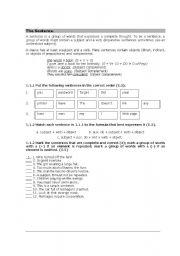 English worksheet: The sentence